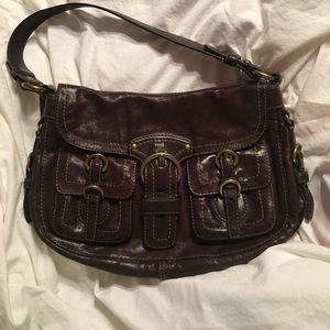 Coach Brown Leather Buckle Purse